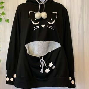 Dresslily pullover Hoodie with cat face and pocket